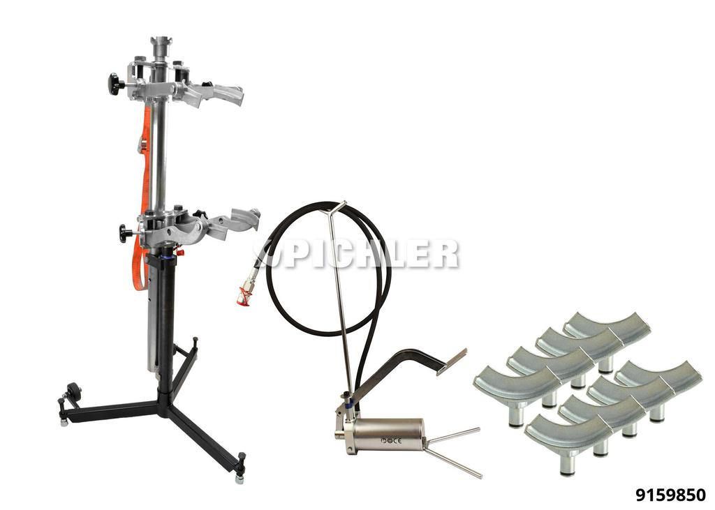 9159850: Fully Adjustable Hydraulic Spring Compressor Complete With Foot Pump and jaws
