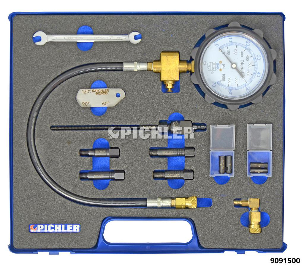 9091500: Universal Diesel Engine Compression Test Kit for M8x1, M9x1, M10x1 and M10x1.25