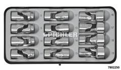 Universal joint socket set 12 pcs. 3/8 drive in a sheet steel case