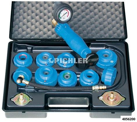 Prüfgerätesatz universal m. Pumpe, Schlauch, 11 Deckel Kunststoffausführung