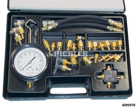 Einspritzanlagen-Prüfkoffer komplett mit 21 Adapter SK, Manometer 0-10 bar