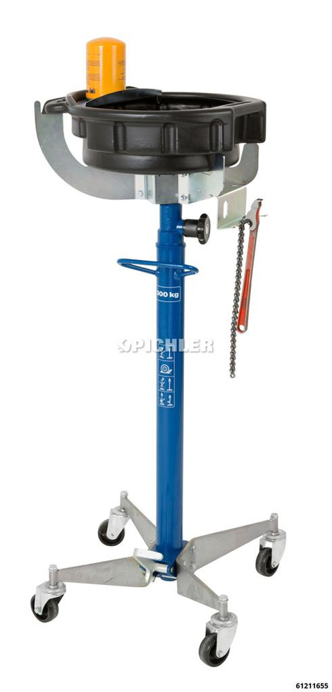 Oil Drain Tray with Holder Volume 15 Litre, with Tilt Mechanism, Mounting for the Plunger Ø25-60 mm