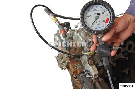 Common-Rail-Prüfgerät JM Manometer 0-2000bar + 4 Leitungen Adapter M12x1,5 AG und M14x1,5 AG