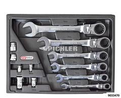 Flex head combination ratchet ring spanner set 12 pcs. 8- 19mm in a case