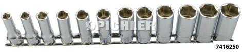 Stecknuss-Satz 3/8 Antrieb 55 mm lang 6-kant 12-tlg. auf Klemmleiste 7-19 mm