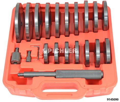 Druckstücksatz 21-teilig zum Aus- und Einpressen von Lagern u.Buchsen 70-150 mm jeweils um 5 mm steigend