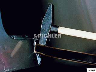 Punktschweiß-Meißel mit 2 Meißelflächen mit Handschutzgriff