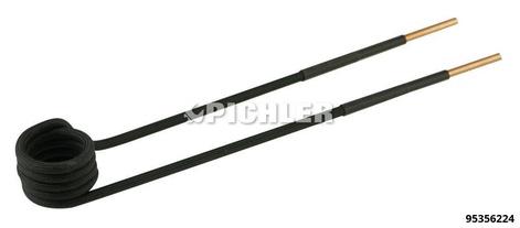 Spule 90° abgewinkelt Ø23mm, L220mm, M10 Ausführung in schwarz