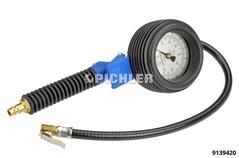 Reifenfüller HRV08.2geeicht 0-10 bar/psi Ventilstecker Manometer 80 mm Durchmesser