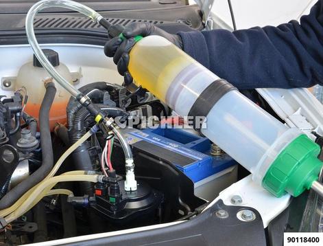 Dosier-Handpumpe 1500 ml zum Absaugen u. zum Befüllen von Diesel und Benzin mit Schnellkupplungsanschluss