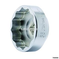Douille extra courte 12 pans, 55mm, 1/2 pour écrous roues arrière motos Ducati