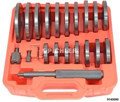 Jeu de pièces de pression de 21pcs pour lintroduction/lextraction des roulemen et cages, 70-150mm, diam. croissant de 5mm