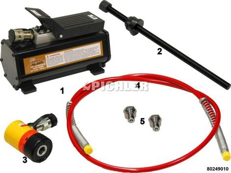 Hydraulik-SET 6-tlg. 12 to Fußpumpe,Hohlkolbenzylinde Schlauch, Adapter, Spindel