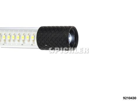 Werkstattleuchte LINE LIGHT C+R 36 Hochleistungs LEDs, 1 Spot LED 24V Anschluss mit Netzteil, Akku