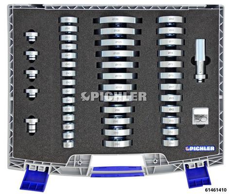 Universal Press Piece Set 45 pcs Ø50 - 135mm incl. guide Ø34mm-Ø55mm