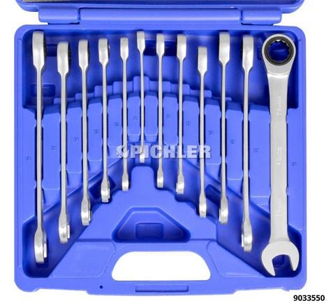 Ring-Maulschlüsselsatz mit Feinverzahnung in Kassette 12-tlg. SW8 - SW19