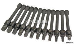 """Impact Hex Bit Socket Set ½"""" 200mm long 12 pieces 10-21mm with locking"""