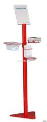 HYGIENESTATION 4-in-1, pulverbeschichtet in rot inklusive 1 L Desinfektionsmittel und 50 Stück Schutzmasken