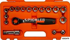 Socket wrench set TRIPLE-Plus 17 pcs passage sockets,adapter, ratchet, extension