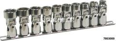 Universal joint socket double hexagon set* 8 pcs, 3/8 drive on a rail