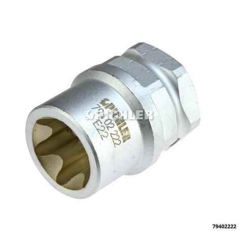 Bremssattel-Spezialnuss E22 Torx E-Profil E22x38mm lang Antrieb 1/2 und SW27