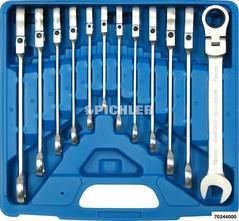 Jeu de 12 clés à fourches et oeil avec denture fine + articulation de 8 à 19 mm
