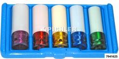 Schlagstecknuss 1/2 lang Set 5-tlg. Kunststoffschutz innen/aussen für Alufelgen