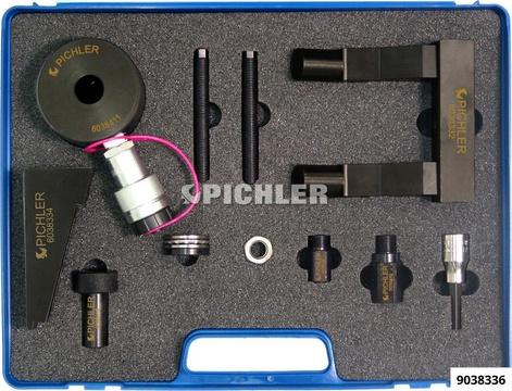 Injektor Demontagesatz Mod.F9Q mit Zubehör und 12t Hydraulikzylinder für Renault F9Q 1,9l dCi