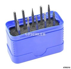 Tungsten Carbide Rotary Burrs Set 10pc Shank-diameter: 3 mm