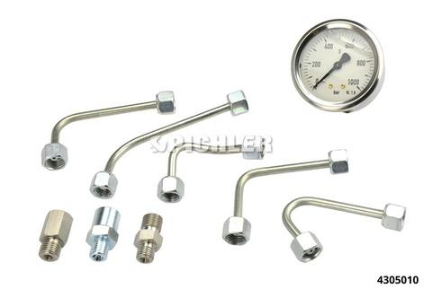 Common-Rail-Prüfgerät CRP01.2 Manometer 0-1000bar + 2 Leitungen + 1Adapter ET446 M12x1,5 AG