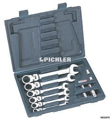 Flex head combination ratchet ring spanner set 18 pcs. 8-19mm in a case