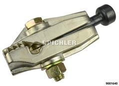 Draw clamp with 90° cheeks for sheet metals with angular profile. Draw over neck slot head