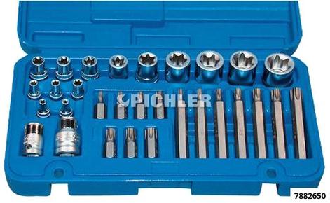 Torx-Satz kpl. E + T-Profil 30-tlg.Innen 1/4,3/8,1/2 Aussen 10 mm 6-kant Antrieb