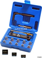 Tread repair kit M9x1,25 brake calliper guidance bolds complete with UNI drill jig