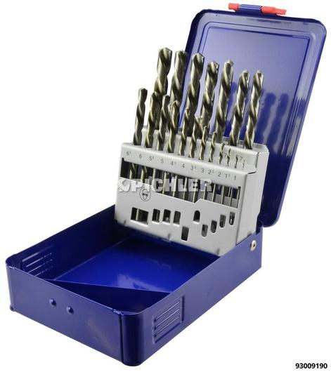 Linksbohrersatz 19-tlg. HSS-G DIN 338 in Kasette 1,0 bis 10,0 mm x 0,5mm stg.