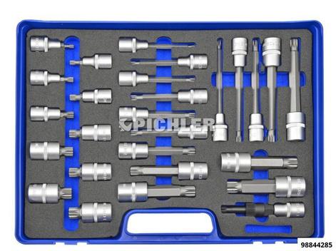 Steckschlüssel 1/2 Vielzahn 27-tlg, XZN 5 bis XZN 18, Länge 55mm,100mm,140mm