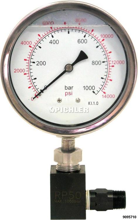 Manometer für Hydraulikpumpen 0-1000 Bar, Ø 100 mm