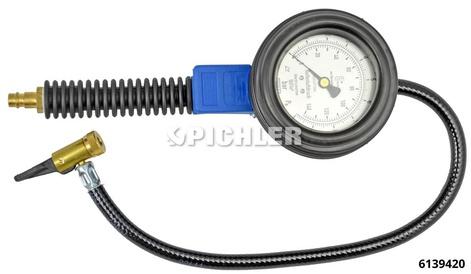 Reifenfüller HRH08.2geeicht 0-10 bar/psi m. Hebelstecker Manometer 80 mm Durchmesser