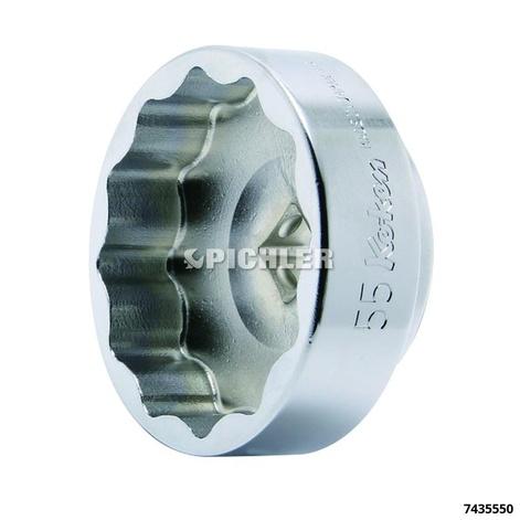 Stecknuss extra kurz 12-kant SW55 A=1/2 für Motorrad-Hinterradmuttern