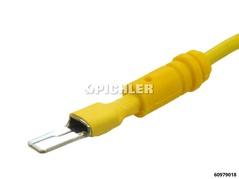 Kabelschuhverbinder mit flachen Kabelschuhen 5,0mm (flach/eckig) gelb