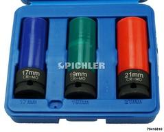 Douilles à choc 1/2 longues, jeu 3 pcs 17, 19, 21mm avec protec PVC int/ext