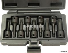 Vielzahn-Kraftstecknuß Satz 9-tlg. XZN M4 bis XZN M16 Antr.1/2 L=75mm i.Kassette