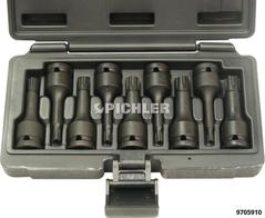 "Impact Ribe Bit Set 9 pc. M5 - M14 drive 1/2"" length 75mm in durable plastic case"
