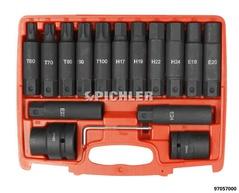 Kraft-Biteinsatz-Set XXL 15-tlg. Inbus, Torx-TX, E-Torx, Antr.3/4 und 1